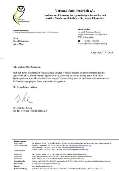 Schreiben des Bundesvorsitzenden Dr. Resch über die Resonanz auf das gemeinsame Projekt