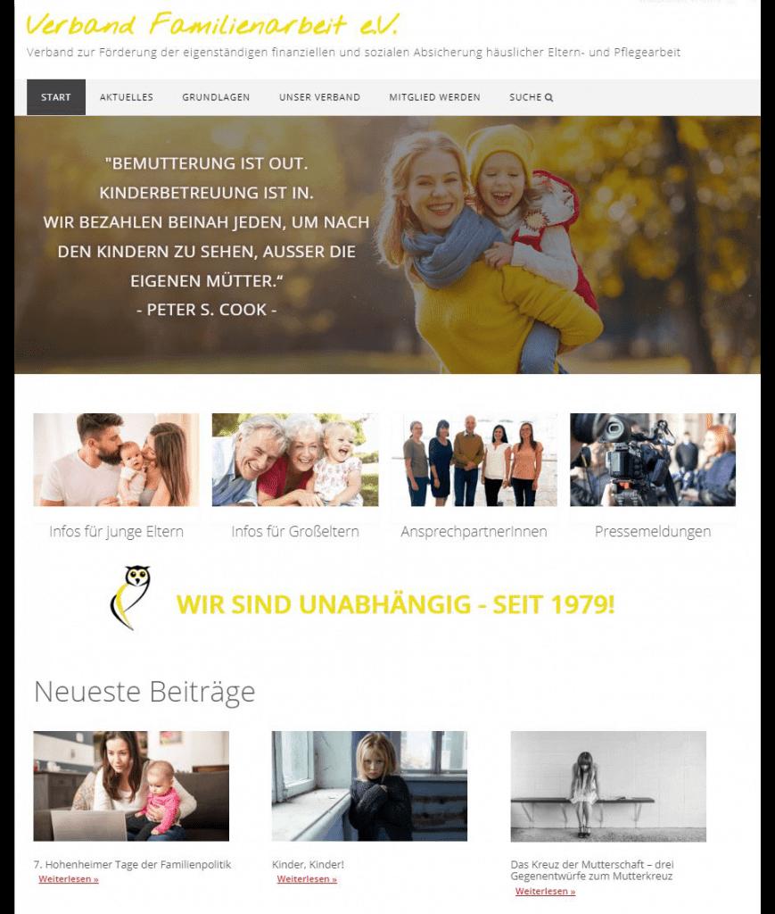 Danach: Die Verbandswebsite nach der Überarbeitung im Januar 2020