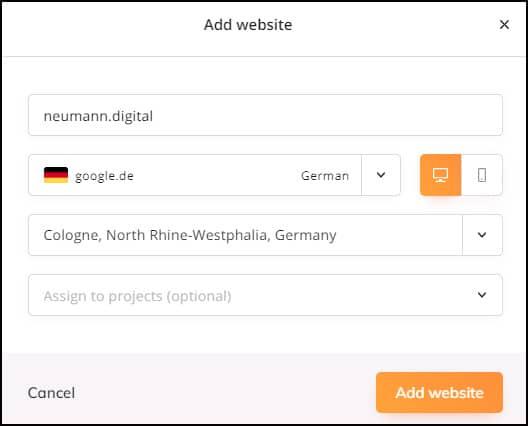 Wincerh SEO Tool: Website hinzufügen